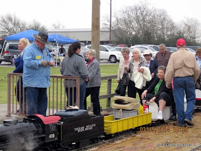 Photo: Engineer Pete Green at left with trainmaster Bob Barnett in the orange cap   2014-0315 DH3