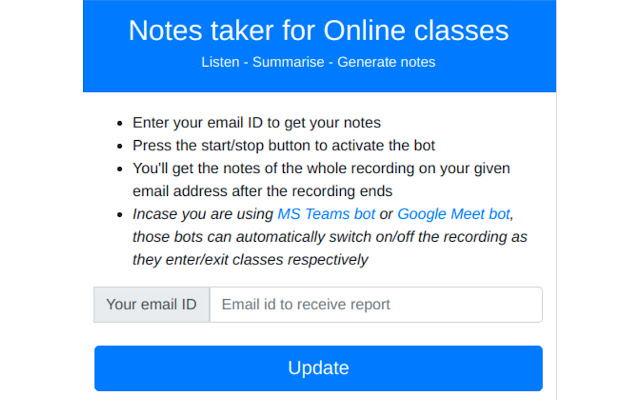 Auto-Notes taker for Online classes