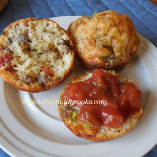 SAUSAGE AND PEPPERONI PIZZA MUFFINS.