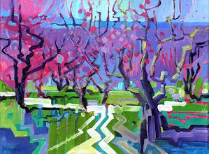 "Photo: ""March Peach Trees"", acrylic on canvas 12"" x 16"", © Nancy Roberts"