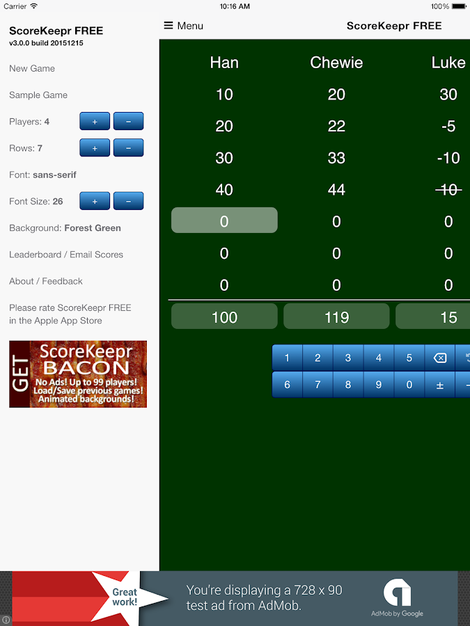 Score Keeper FREE- screenshot