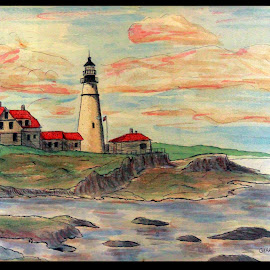 PORTLAND MAINE SUNSET AT THE LIGHT by Gerry Slabaugh - Painting All Painting ( portland lighthouse, lighthouse, portland light, portland maine, painting )