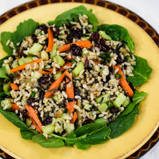 Wild Rice Salad with Cranberries and Walnuts.
