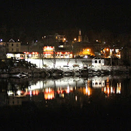 King Street Reflection by Lena Arkell - City,  Street & Park  Night ( water, lights, reflection, canada, night, black, city, river,  )