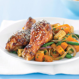 Glazed Chicken with Mixed Vegetables.