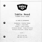 Virginia Beer Co. Table Read