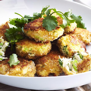 Crab Cakes with Lime and Chili Mayonnaise.