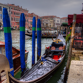 Black and Blue by Darin Williams - Transportation Boats ( gondola, post, grand canal, venice, italy,  )