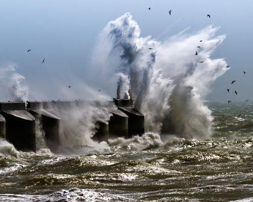 Brighton Marina takes a battering by Peter Greenhalgh - Landscapes Waterscapes ( water, brighton marina, england, brighton, uk, breaking waves, waves, sea, sunshine, marina, rough, sun )