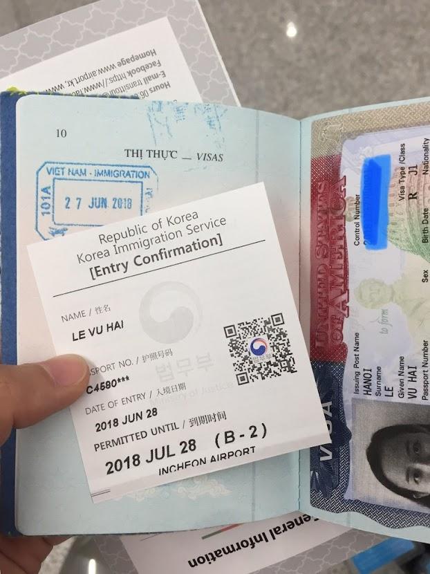 Korean entry confirmation