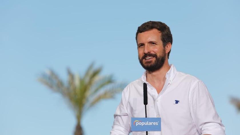 Pablo Casado, durante su intervención, este viernes en Balanegra.