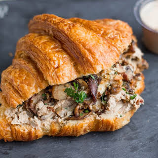 Mushrooms and Chicken Liver Pate Croissant.