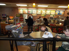 "Photo: The boys did a great job shopping, now they were hungry.  Mr. Crum and I decided to endulge in ""FebruANY"" from Subway that is inside Walmart.  The boys loved it that they could watch all of the people shopping while we ate."