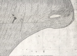 Photo: Historic map showing the eastward projection of Cape Canaveral. The beach ridges are representative and not 100% accurate. It has changed dramatically in the last several hundred years. Old maps can provide lots of information to archaeologists.