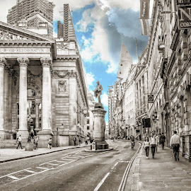 London Stock Exchange  by T Sco - Buildings & Architecture Statues & Monuments ( sky, london, trade, money, street, statue, exchange, monument, stock, finance, building, architecture )
