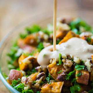 Roasted Sweet Potato Salad with Candied Walnuts.