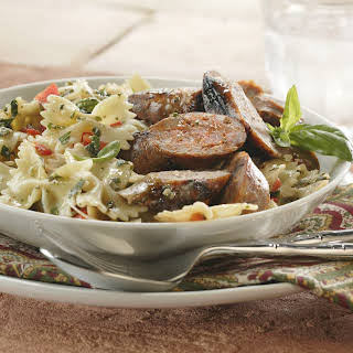 Grilled Sausage and Pesto Pasta.