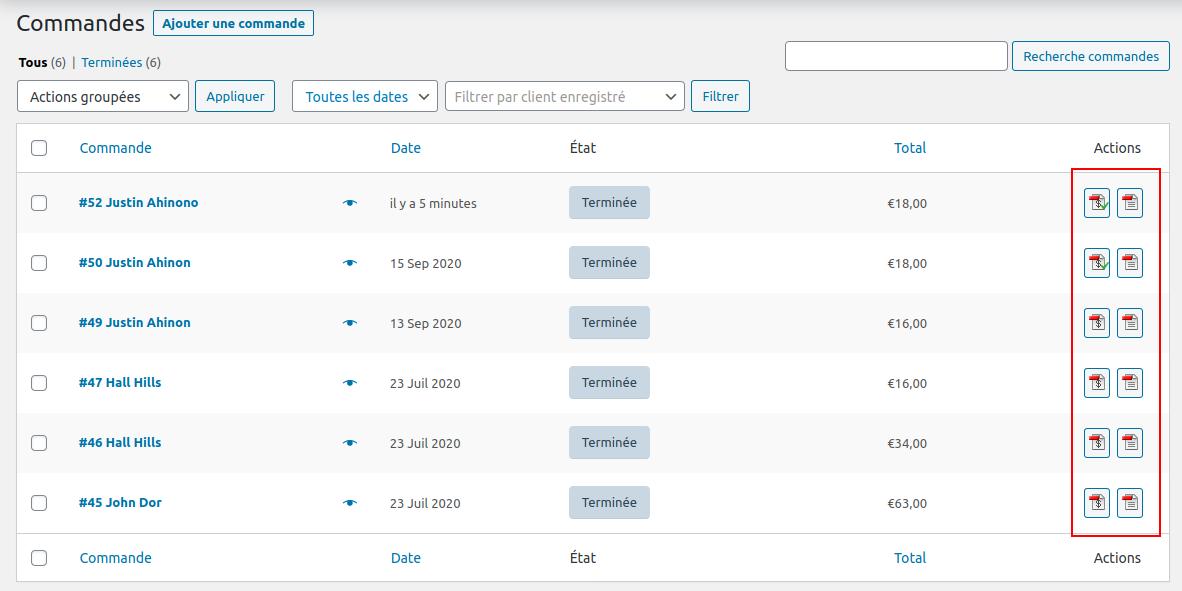 Un aperçu des factures WooCommerce gérées par le plugin