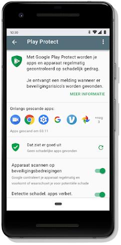 Dashboard-scherm van Google Play Protect op mobiel