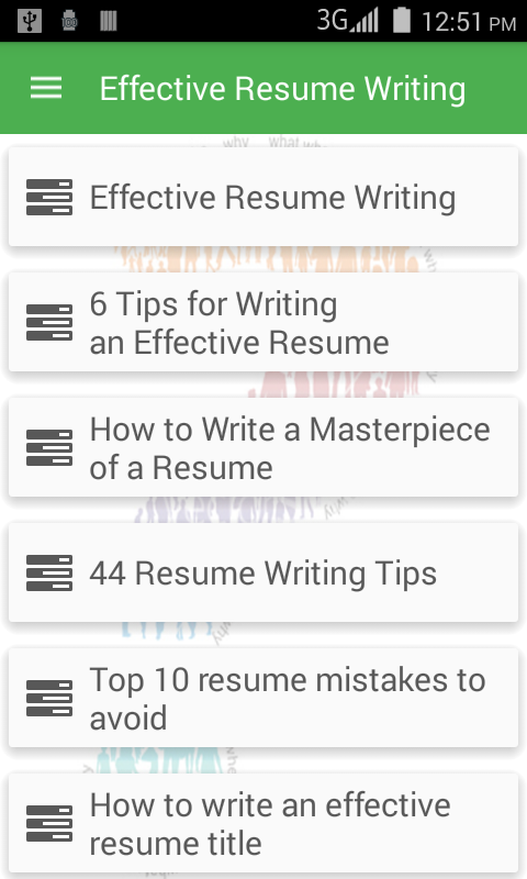effective resume writing android apps on google play