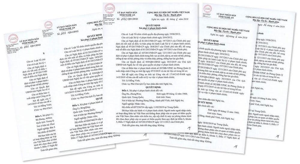 Quyết định xử phạt 5 công dân Trung Quốc tại Phòng khám đa khoa Vinh