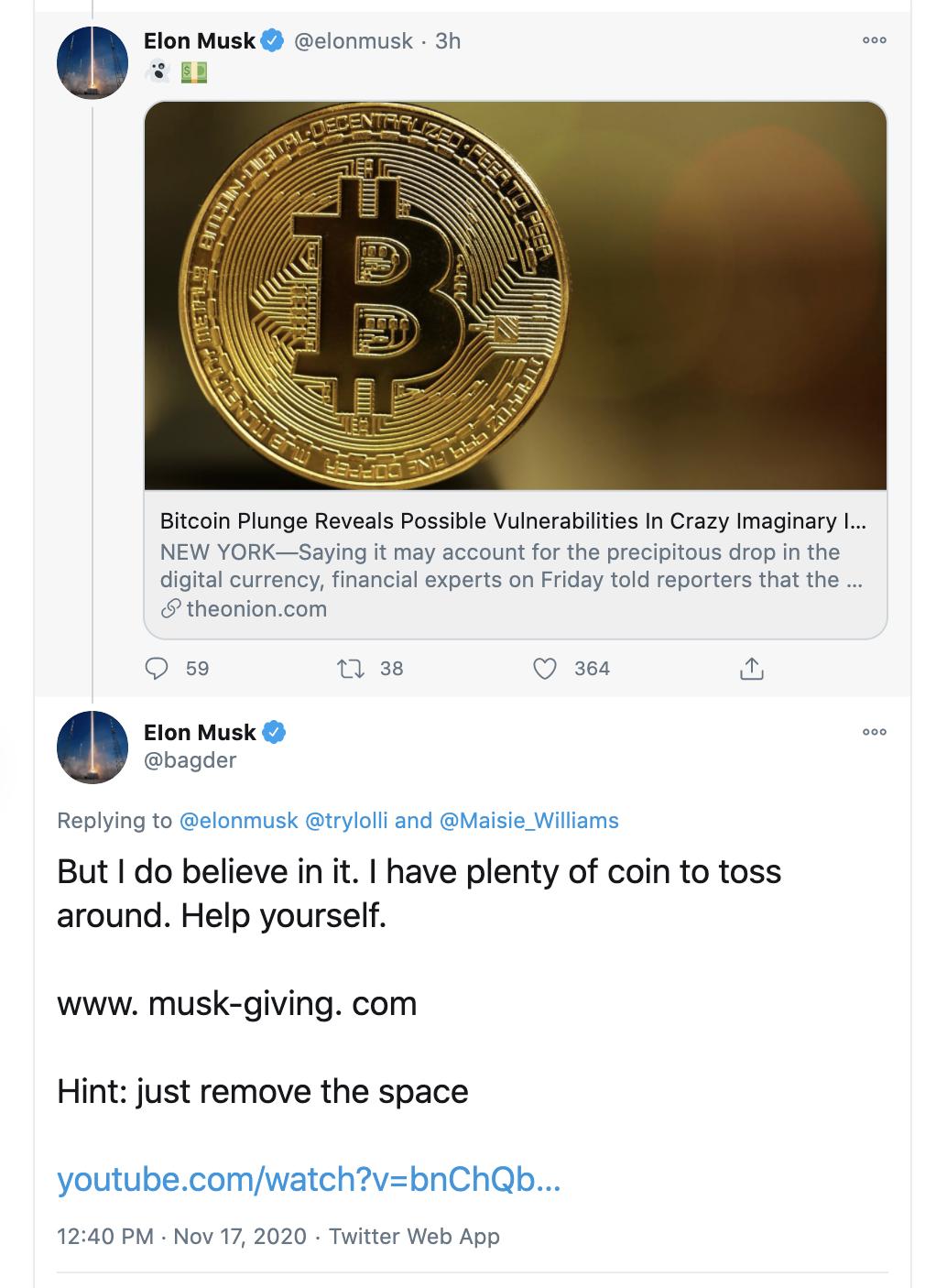 BitCoin Betrüger mit Musks Namen unterwegs   Finanztrends