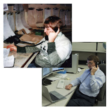 Photo: Dan Kottlowski (shown here in 1982 and 2012) has done over 30,000 TV client weather briefings since 1976.