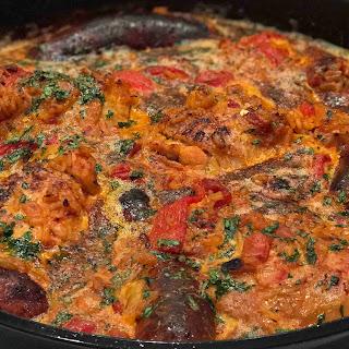 Stovetop Paella with Chorizo and Chicken.