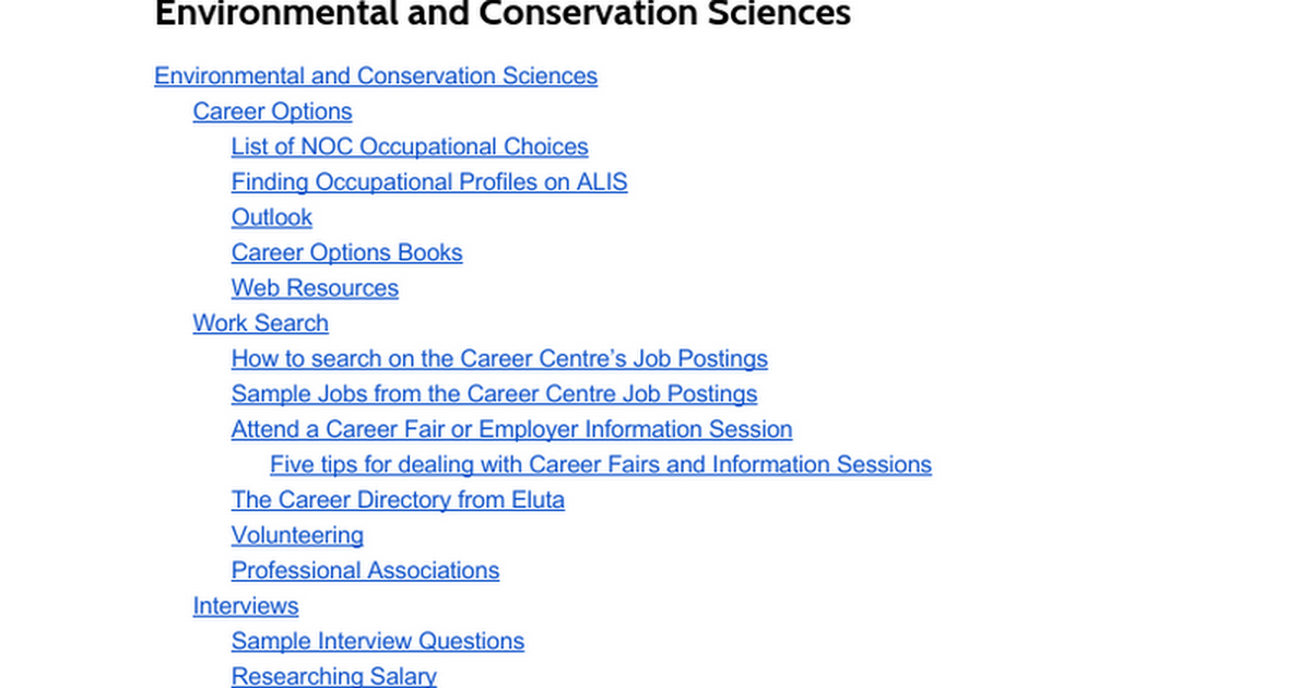 Environmental and Conservation Sciences - Google Docs