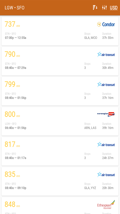 Find cheap flights- screenshot