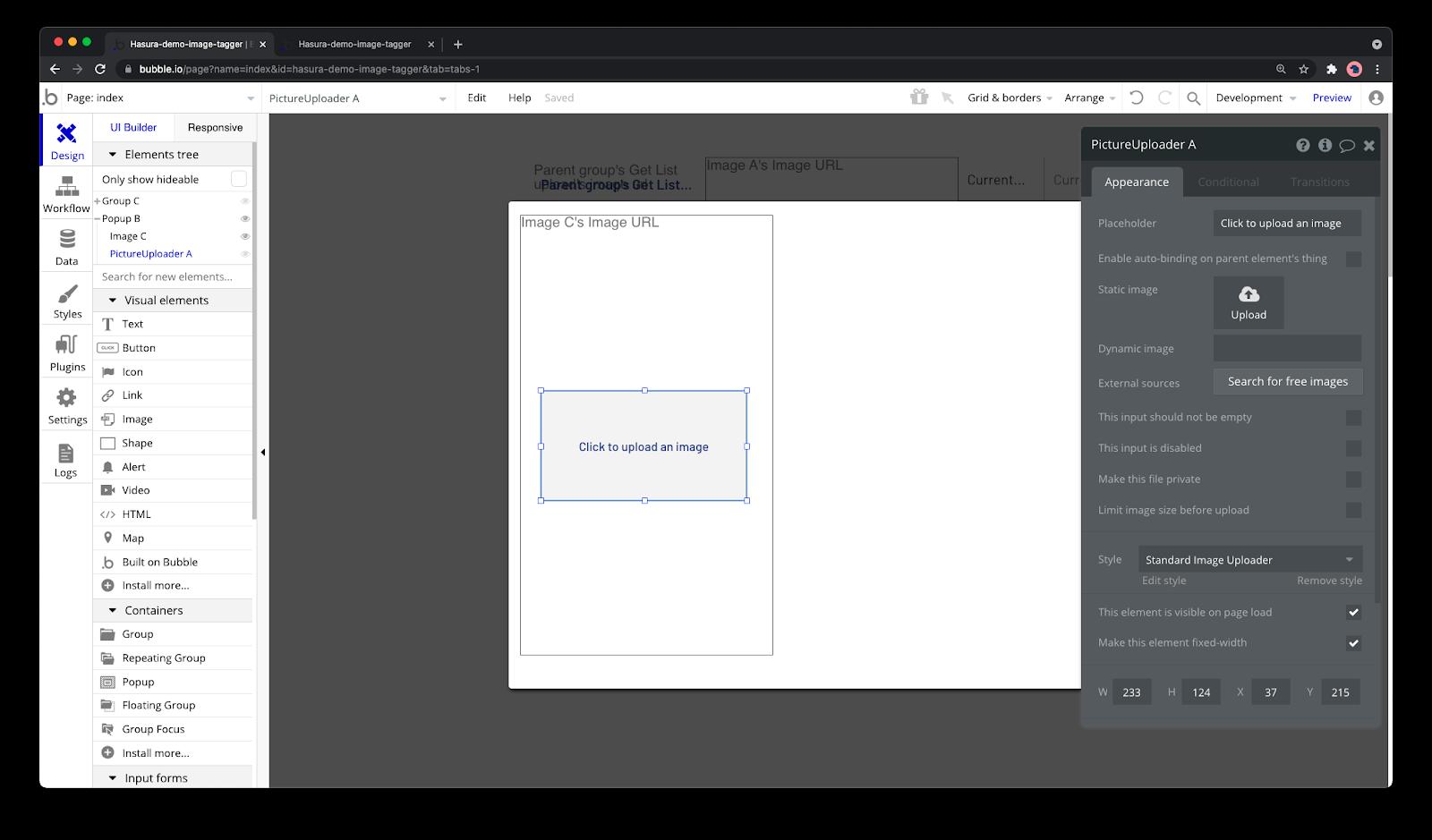 Upload UI components.