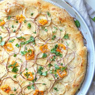 Vegan Potato Habanero White Pizza.