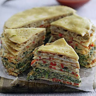 Layered Omelet Cake With Vegetable Stuffing.