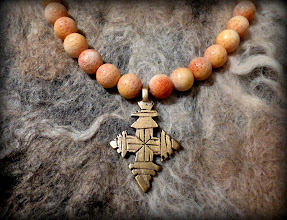 Photo: # 205 MAIDEN'S DREAMS ~ ДІВОЧІ МРІЇ  - brass Coptic cross, coral, gold plate   $110/set