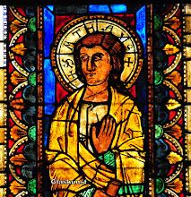 Photo: Mittelalterliche Glasmalerei Evangelist Matthäus