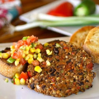 Black Bean and Veggie Burgers with Corn Salsa.