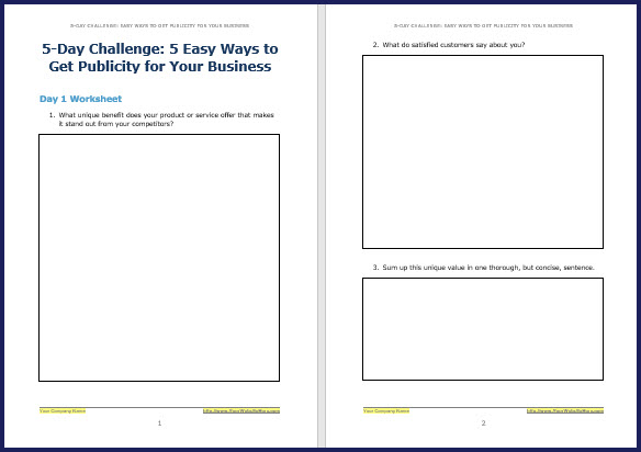 How to Attract Free Publicity - Bonus Challenge Worksheet 1