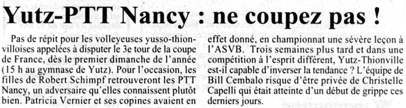 Photo: 03-01-97 N2F 3è tour de la coupe de France contre PTT Nancy
