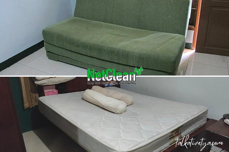 kasur dan sofa bed yang telah bersih setelah di vacuum