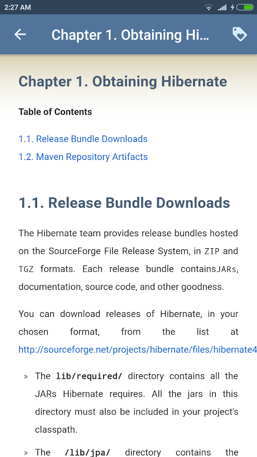 Learn Hibernate (Offline Docs)- screenshot