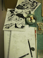Photo: Inking the pencils