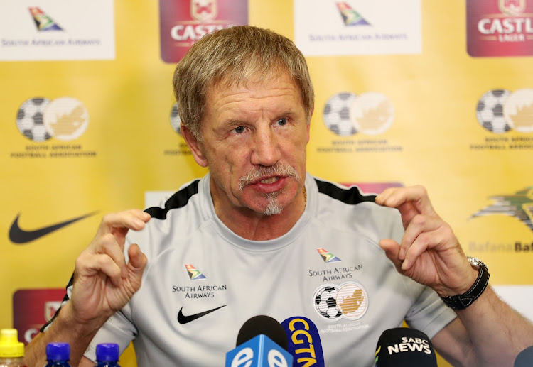Stuart Baxter, coach of South Africa during the 2019 African Cup of Nations Qualifier South Africa Press Conference at Southern Sun Hotel, Sandton on 08 October 2018.