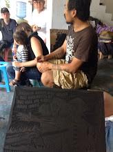 Photo: Bayu shows us some woodblocks