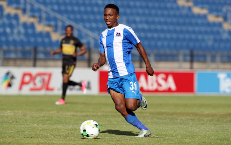 Mlondi Dlamini of Maritzburg Utd during the Absa Premiership match between Maritzburg United and Cape Town City FC at Harry Gwala Stadium on May 01, 2017 in Durban, South Africa.