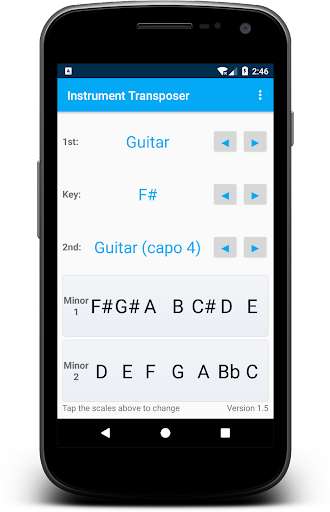 Instrument Transposer app for Android screenshot