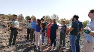 La consejera Carmen Crespo visita una de las zonas afectadas de la Sierra de Gádor.