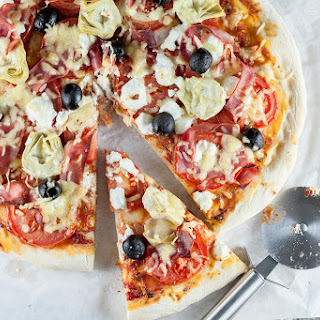 Goat Cheese And Tomato Pizza.