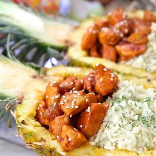 Honey Sriracha Chicken & Rice Pineapple Bowls