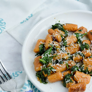 Sweet Potato Gnocchi with Spinach and Garlic Butter Sauce.