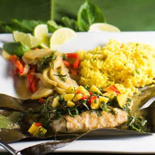 Thai Curried Snapper in Banana Leaves.